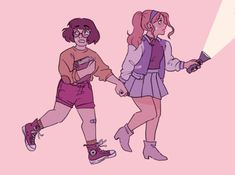 Spooky girls Velma and Daphne Daphne And Velma, Daphne Blake, Scooby Doo Mystery Incorporated, Character Art, Character Design, Velma Dinkley, Animation, Fan Art, Illustrations