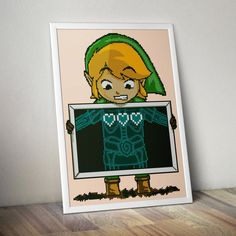 Link The Legend of Zelda Funny x-ray image full level of life three hearts Video Game - Cross-stitch PDF pattern - Instant digital download