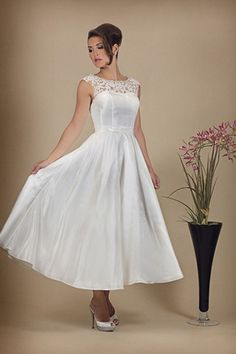 Retro taffeta tea length short vintage wedding dress – FairyGothMother