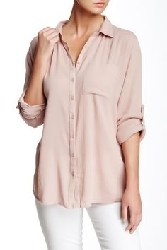 SUSINA - Tab Roll Sleeve Button Shirt at Nordstrom Rack. Free Shipping on orders over $100.