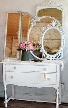 Mirror collection on a small buffet (from Vintage Soul)
