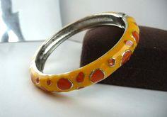 Orange & Yellow Bangle  Vintage Hinged Bracelet  by thejewelseeker, $22.00