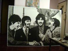 The Beatles  lapiz carbon sobre madera 185 x 130 cmts