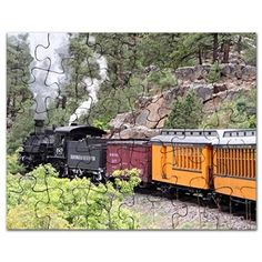 Steam train engine, Colorado, USA, 9 Puzzle on CafePress.com