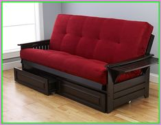 Enjoy exclusive for Queen Size Phoenix Espresso Frame w/ 7 Inch Mattress Microfiber Suede Futon Set Wood Sofa Bed (Red Mattress, Frame w/Drawers (Queen Size)) online - Chicideas Sofa Bed Red, Futon Sofa, Sofa Bed Sleeper, Comfortable Couch, Most Comfortable Sleeper Sofa, Sofa Furniture, Best Sofa, Couch Bed, Sleeper Sofa Comfortable