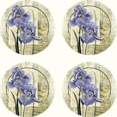 Set of 4 Absorbent Coasters - Iris in Bloom by Thirstycoasters. $16.99. Printed and packaged in the USA. Approximate weight: 1.5 lbs. per set. Cork-backed to protect furniture. Set of 4 Absorbent Coasters.Cork-backed to protect furniture.Large surface area (4.5 inches in diameter) to catch more drips.Printed and packaged in the USA (no decals).Approximate weight: 1.5 lbs. per set.