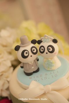 Handmade lovely and cute Panda wedding cake topper