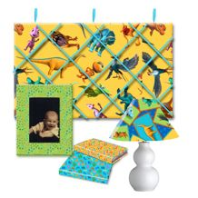 FREE downloadable project sheets for no-sew bulletin board, fabric covered frame, fabric book covers, and fabric covered lamp shade - redo your child's room with a few yards of fabric!