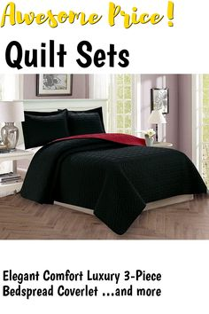 Elegant Comfort Luxury 3-Piece Bedspread Coverlet Majestic Design Quilted Set with Shams - All Season Heavy Weight- Hypoallergenic- Wrinkle and Fade Resistant- King/California King, Black/Burgundy ... (This is an affiliate link) #quiltsets