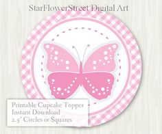 Butterfly Baby Shower Cupcake Topper Tags by StarFlowerStreetDA Butterfly Theme Party, Butterfly Baby Shower, Pink Butterfly, Butterflies, Baby Shower Cupcake Toppers, Baby Shower Favors, Birthday Decorations, Decoration Party, Baby Shower Printables