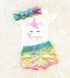 Unicorn party outfit Baby girl clothes Birthday girl First