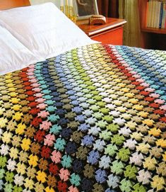 This is quite unusual and a nice alternative to the granny square look if that's not your thing. If you scroll down the page, there are diagrams and a pattern.