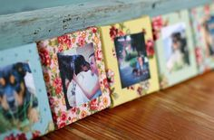 cover old picture frames with fabric