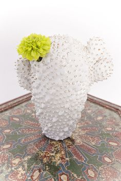White Ceramic Cactus Vase @flea_pop