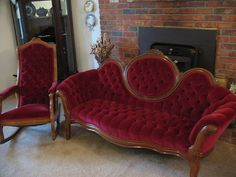 Antique Victorian Settee and Rocking Chair | eBay