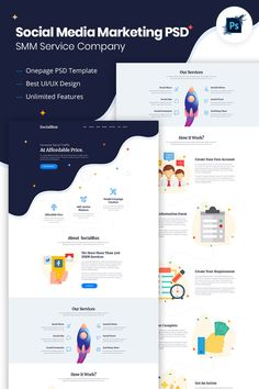SocialBux SMM Service Provider Company psd is with clean and minimal design. Web Design Websites, Web Design Tips, Web Design Services, Website Design Layout, Website Design Inspiration, Web Layout, Creative Web Design, Ui Web, Free Instagram