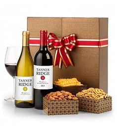 The Classic Wine Duet: Wine Baskets - An elegant package that holds your choice of two California wines and a panel of gift boxes filled with gourmet snacks. $49.95 + personalization (optional)