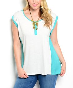 Another great find on #zulily! Mint & White Color Block Cap-Sleeve Top - Plus #zulilyfinds