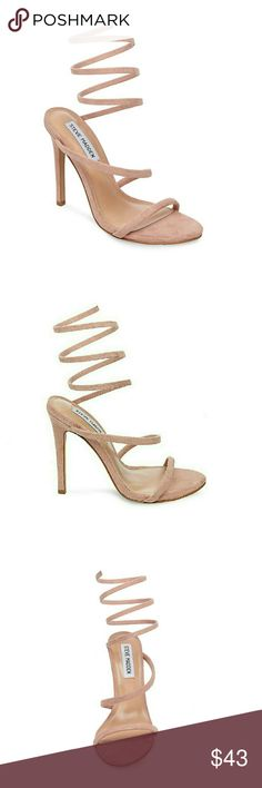 "Steve Madden Tiffany Pump in Natural This cleverly designed stilettoed sandal features a chic spiral strap that expands beyond the footbed to coil around the ankle.  Super cute and comfortable in a gorgeous natural/blush color. Brand new in box.   *Microsuede upper  *4.25"" heel height *Ankle wrap coil *Natural/blush color Steve Madden Shoes Heels"