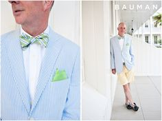 Very relaxed look - love the bowtie & light blue striped jacket.   Hotel Del Wedding, Photography by Bauman Photographers  View More: http://baumanphotographers.com/blog/weddings/2014/09/hotel-del-coronado-wedding-coronado-ca/