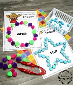 Preschool Shapes Printables – Making Shapes Fine Motor Activity - Life and hacks 2d Shapes Activities, Shapes Worksheets, Learning Shapes, Toddler Learning Activities, Learning Spanish, Childcare Activities, Fine Motor Activities For Kids, Sensory Activities, Preschool Printables