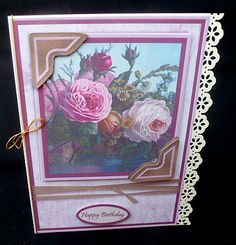 Photo Corner Roses on Craftsuprint designed by Diane Hannah - made by Diane Hitchcox - I printed out onto 220 gram card then mounted on a border punched card ,decoupaged using sticky pads and attached a gold elasticated bow down spine. - Now available for download!