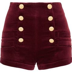 Pierre Balmain Velvet shorts (830 CAD) ❤ liked on Polyvore featuring shorts, burgundy, burgundy shorts, loose fit shorts, high-rise shorts, slim shorts and pierre balmain