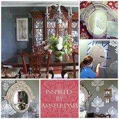 A Corsini Damask wall stencil creates an elegant dining room that was inspired by a museum in Amsterdam. By @Melissa Mortenson of The Polkadot Chair. http://www.royaldesignstudio.com/