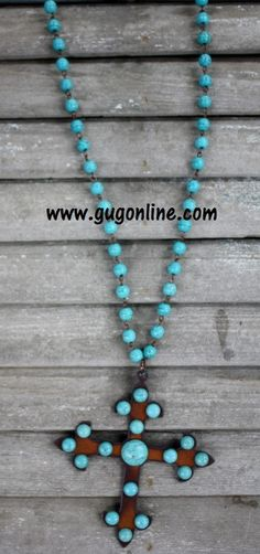 Long Turquoise Chain with Dangle Metal and Turquoise Stud Chopper Cross