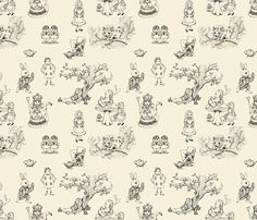 Alice in wonderland toile in Cream and Black by mytinystar, click to purchase fabric