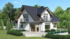 Zdjęcie projektu Dom przy Cyprysowej 14 K2 KRK1522 Flat House Design, House Architecture Styles, Modern Bungalow House, Architectural House Plans, Micro House, Exterior House Colors, Home Fashion, Interior Design Living Room, Mansions