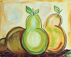 """Social Artworking Canvas Painting Design - Pear Trio  CANVAS SIZE:  16"""" x 20""""  TIME TO PAINT:  approximately 2 hours"""