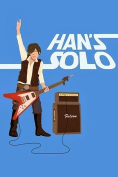 Han's Solo, Illustration. Star Wars Hans, playing guitar / amplifier,