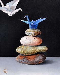 Still life - Elena Kolotusha Artist Origami Art, Origami Cranes, Paper Cranes, Conceptual Architecture, Crane Bird, Paper Birds, Surrealism Painting, Hyperrealism, Painting Still Life