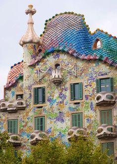 Gaudi - Mosaic tile house, Barcelona, Spain..