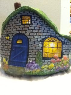 Painted rock house. Painted by KLG