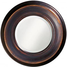 Our Dublin mirror is a round piece fashioned from resin. It has a rustic, burnished copper finish giving the piece a simple, yet sophisticated look. The Dublin Mirror is a perfect accent piece for an entryway, bathroom, bedroom or any room in your home. D-rings are affixed to the back of the mirror so it is ready to hang right out of the box! The mirrored glass on this piece has a bevel adding to its beauty and style.