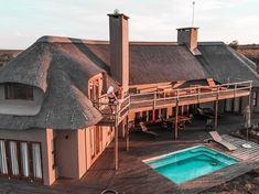 Enjoy Luxury Accommodation in a Private Bush Villa at Gondwana Safari Park. Experience the Big 5 on South Africa's Garden Route. Stephanie Durant, Built In Braai, Seaside Garden, Outdoor Dining, Outdoor Decor, Elegant Dining Room, Thatched Roof, Game Reserve, Luxury Accommodation