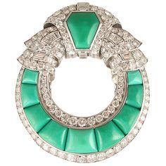 Art Deco turquesa y broche de diamantes
