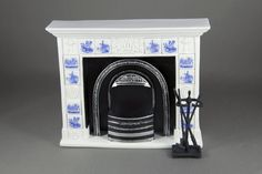 Tile Fireplace with Tools