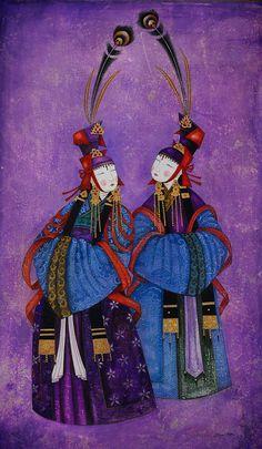 Zayasaikhan Sambuu, painter from Mongolia. Art And Illustration, Botanical Illustration, Oriental, Tibetan Art, Traditional Paintings, Naive Art, Pictures To Paint, Figure Painting, Dress Painting