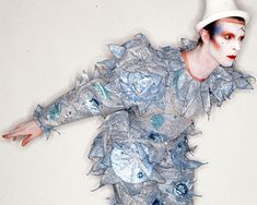 British pop singer David Bowie in Pierrot costume for the artwork for album Scary Monsters (And Super Creeps) and single Ashes To Ashes, United Kingdom, 1980, photograph by  Brian Duffy.