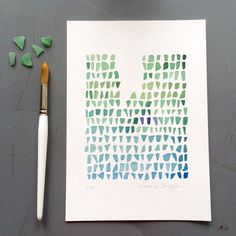 Watercolor print of green sea glass. I love my little treasures collected on the beach.  This little watercolor comes as a giclee print ready to ship.