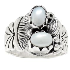 Pearl 925 Sterling Silver Ring Jewelry s.6 RR12200   eBay
