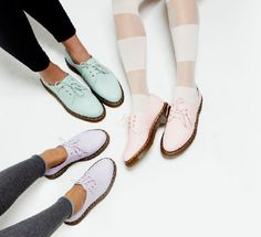 I never thought that I would put the words delicate and dr martens together. But here they are - hefty shoes in delicate colours