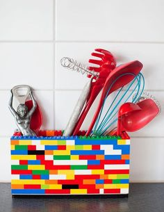 A box made of colorful plastic blocks