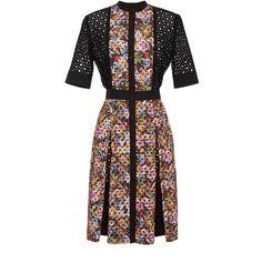 Mary Katrantzou Caule Dress ($2,135) ❤ liked on Polyvore featuring dresses, floral print dress, knee-length dresses, floral dress, a line dress and floral embroidered dress