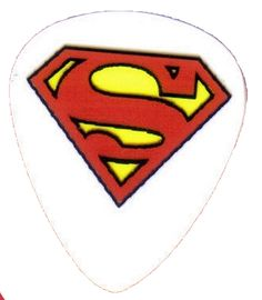 """Unique and Custom """".76 MM Thick - Medium Gauge Hard Plastic - Round Tip"""" Guitar Pick with Super Hero Superman Diamond S Symbol {White, Red and Yellow - Single Pick}"""