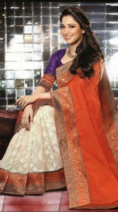 Tamannaah Bhatia In White Bollywood Fashion Saree 2FD3358669