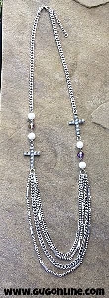Long Silver Chain Necklace with Pearl Crosses www.gugonline.com $16.95